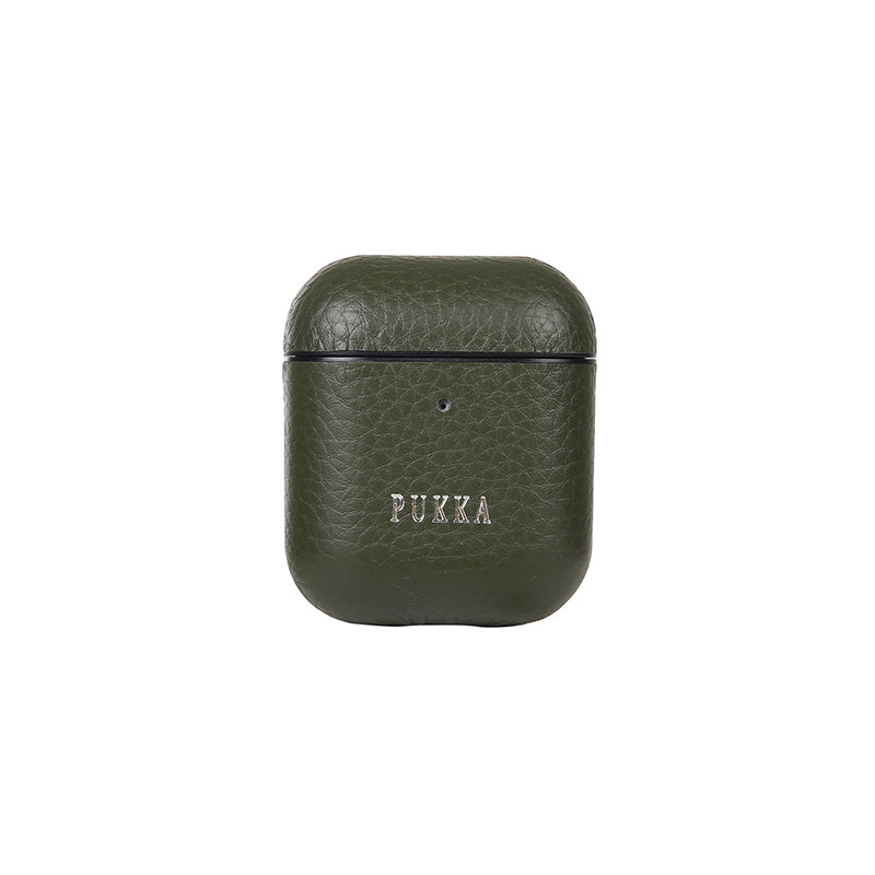 PUKKA Airpods 1 & 2 Genuine Leather Case (GREEN)