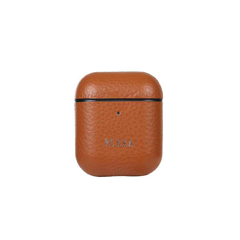 PUKKA Airpods 1 & 2 Genuine Leather Case (Navy Brown)