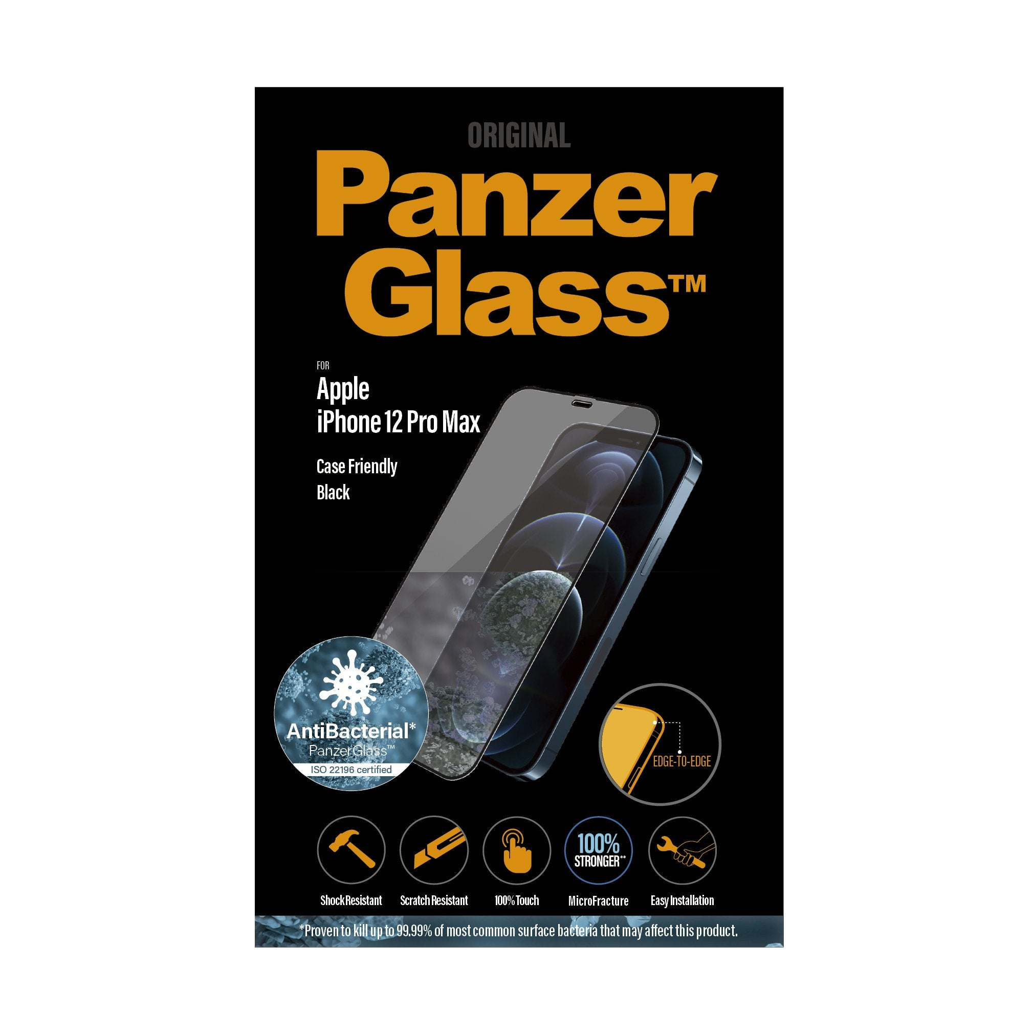 PANZERGLASS iPhone ( 2020 ) - Edge-to-Edge Black Frame w/ Anti-Microbial Screen Protector - Clear