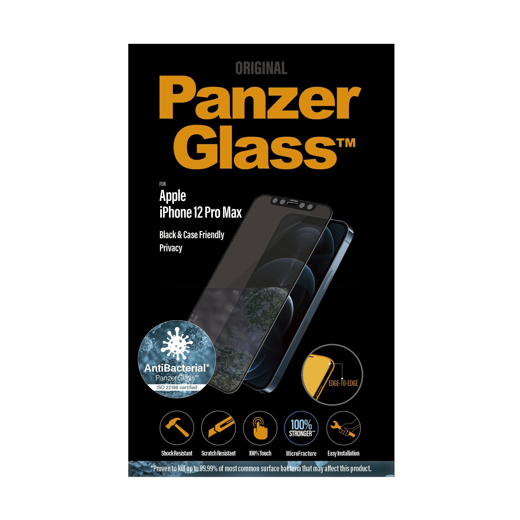 PANZERGLASS iPhone (2020) - Edge-to-Edge Black Frame w/ Anti-Microbial Screen Protector - Privacy