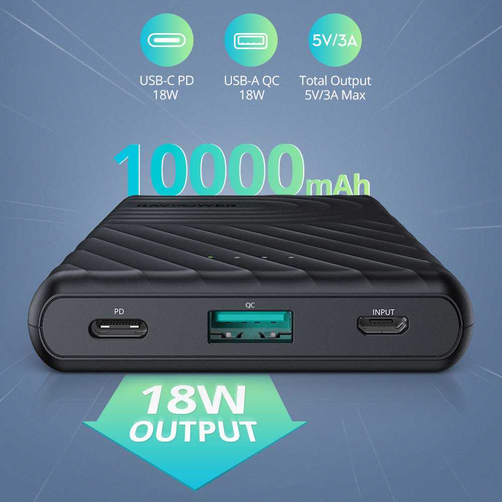 RAVPOWER 2-Port PD Pioneer Power Bank 10000MaH 18W - BLACK