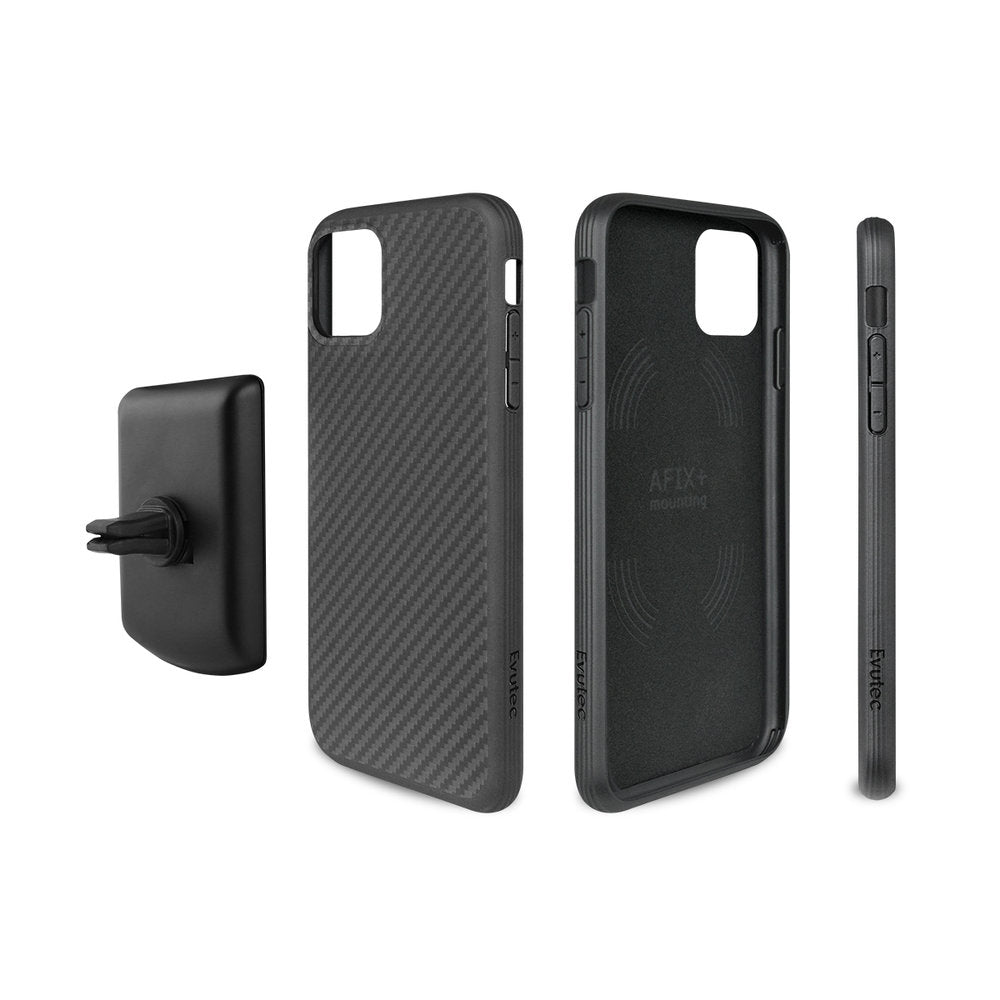 Evutec AERGO - Karbon Black with AFIX Car Mount for iPhone (2019)