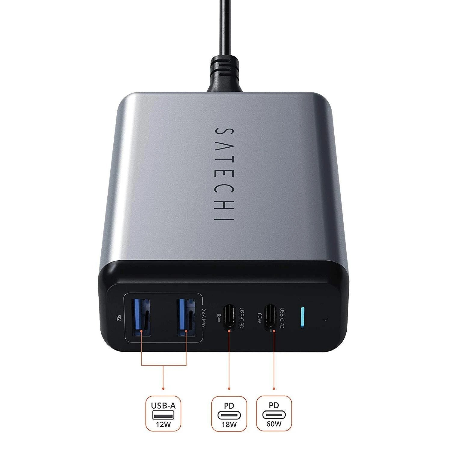 SATECHI - TRAVEL CHARGER - 4 PORTS - 75W PD (2 X USBC - 2 USBA) - SPACE GRAY