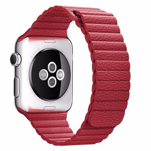 NintyOne Leather Watch Band For Apple Watch - Red