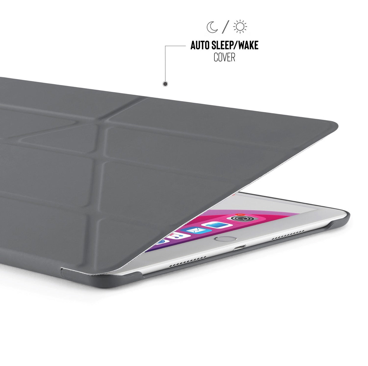 Pipetto iPad 10.2 Origami Case PC (2019) - Dark Grey