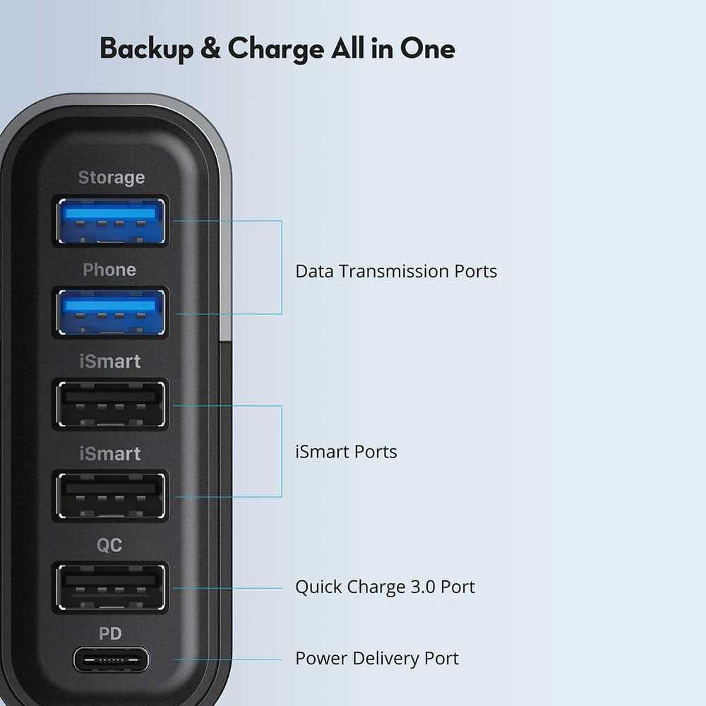 Ravpower 6-port USB Charger FileHub - BLACK