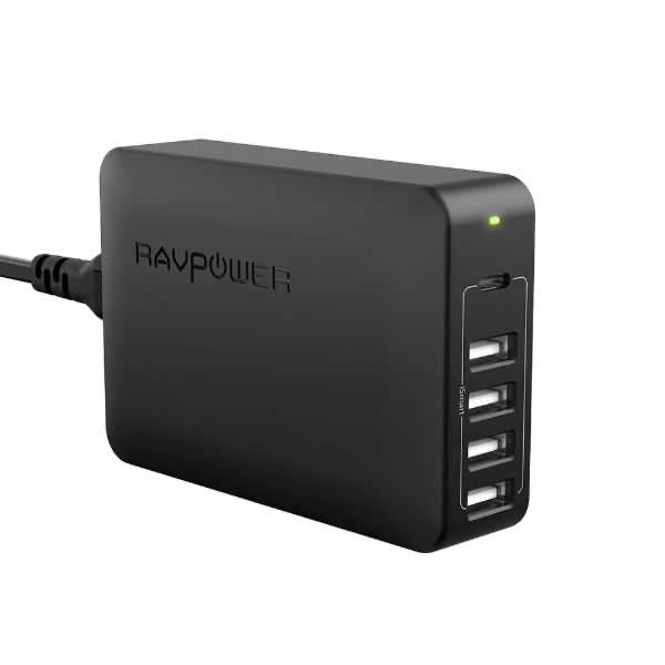 RAVPower 5 Ports USB Desktop Charger with USB-C PD 60W - Black