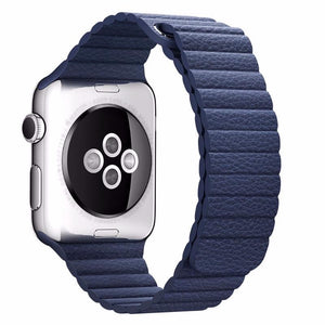 NintyOne Leather Watch Band For Apple Watch - Navy