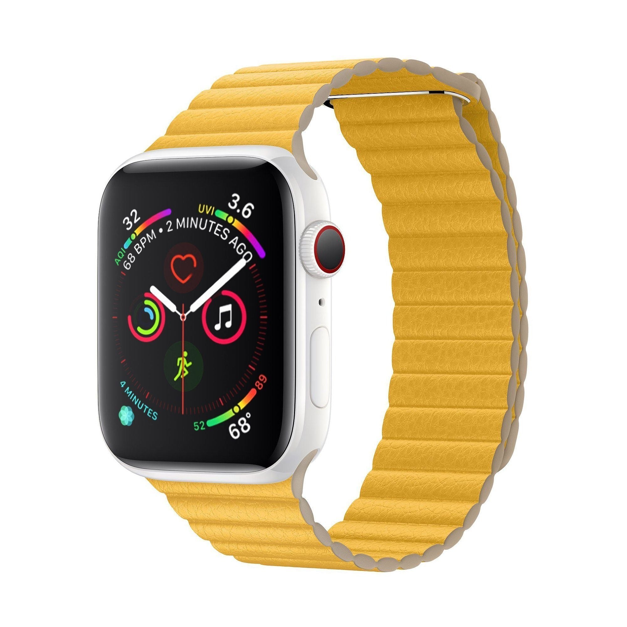 NintyOne Leather Watch Band For Apple Watch - Yellow