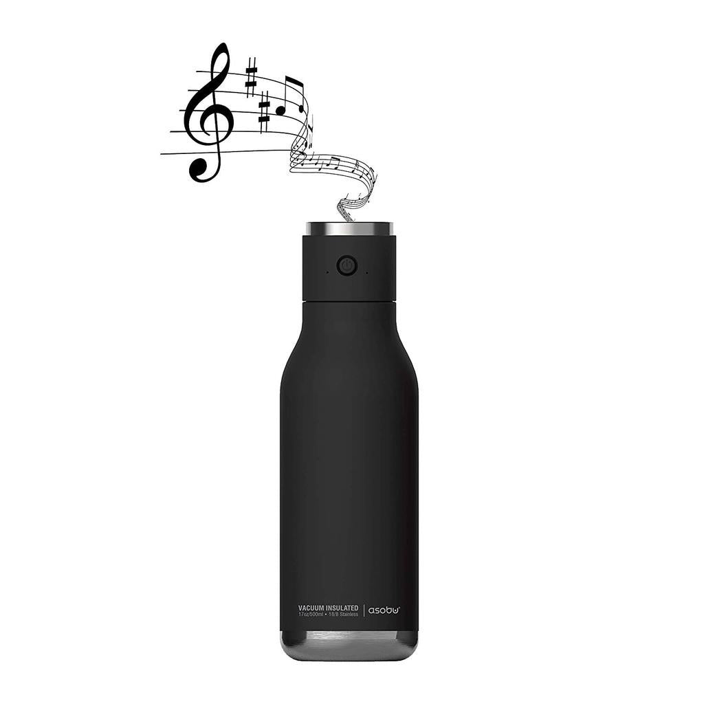 ASOBU Wireless Double Wall Insulated Stainless Steel Water Bottle with a Speaker Lid 17 Ounce - Black