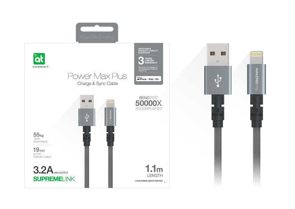 AT Supreme Link Powermax Plus Lightning Cable 1.1m (Silver)