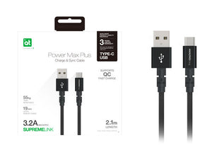 AT supreme Link Powermax Plus Type-c to Usb-a Cable 2.1m (Black)