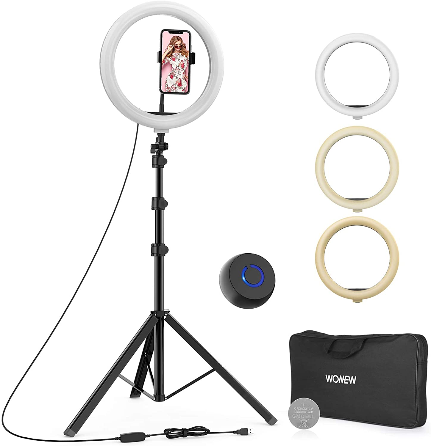WONEW Selfie Ring Light with Tripod Stand