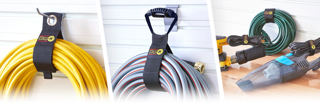 Heavy-Duty, Easy-Carry, and Super-Stretch products in use demonstrating garage organization