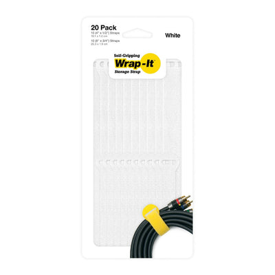"Self-Gripping Cable Ties - 20 Pack (10 8"", 10 4"") - Wrap-It Storage"