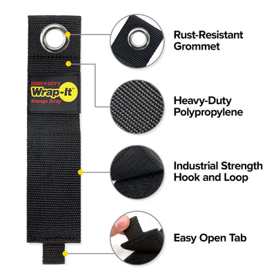 "Heavy-Duty Storage Straps - Assorted 6 Pack (10"", 13"", 17"")"