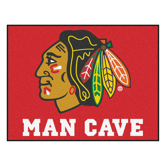 "NHL - Chicago Blackhawks Man Cave All-Star Mat 33.75""x42.5"" - Fan Cave Rugs"
