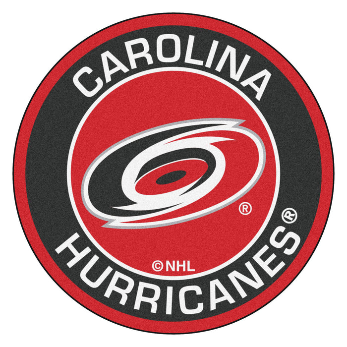 "NHL - Carolina Hurricanes Roundel Mat 27"" diameter - Fan Cave Rugs"