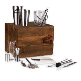 Buffalo Bills - Madison Acacia Tabletop Bar Set, (Acacia Wood)