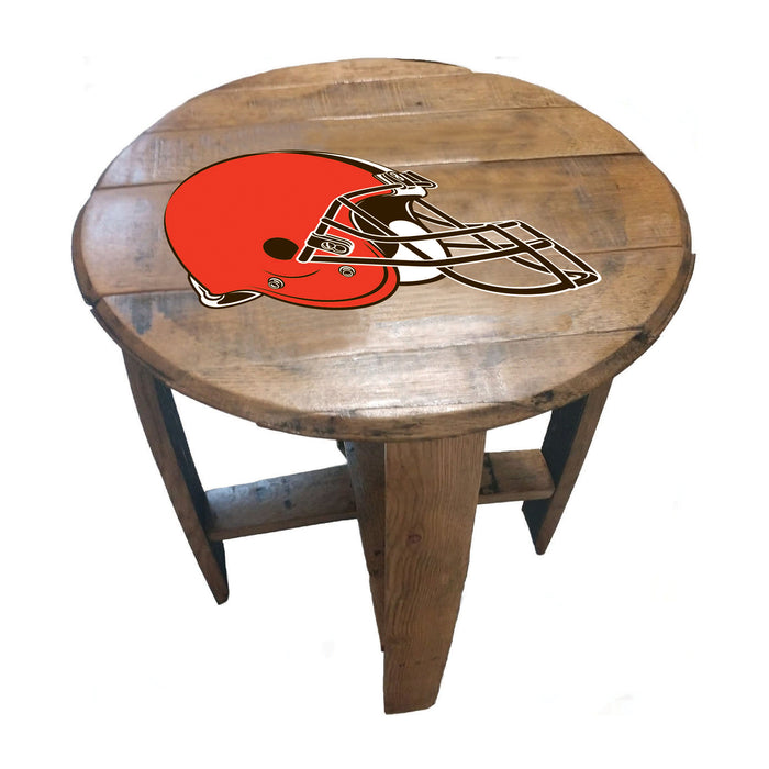 CLEVELAND BROWNS OAK BARREL TABLE