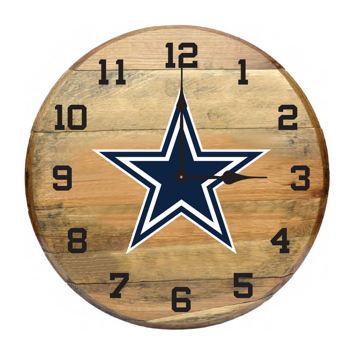 Dallas Cowboys Oak Barrel Clock