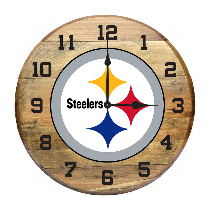 PITTSBURGH STEELERS OAK BARREL CLOCK