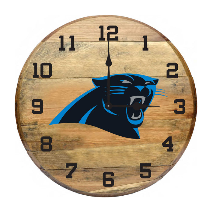 CAROLINA PANTHERS OAK BARREL CLOCK