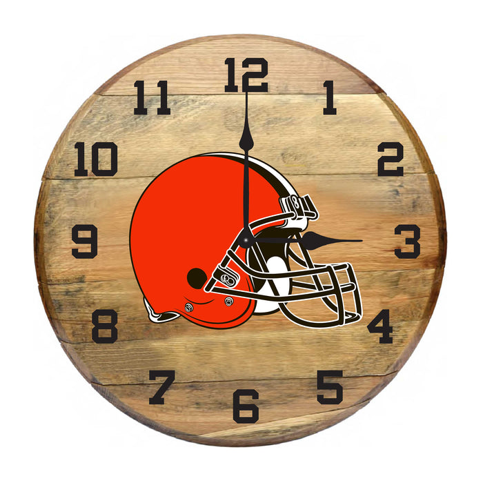 CLEVELAND BROWNS OAK BARREL CLOCK