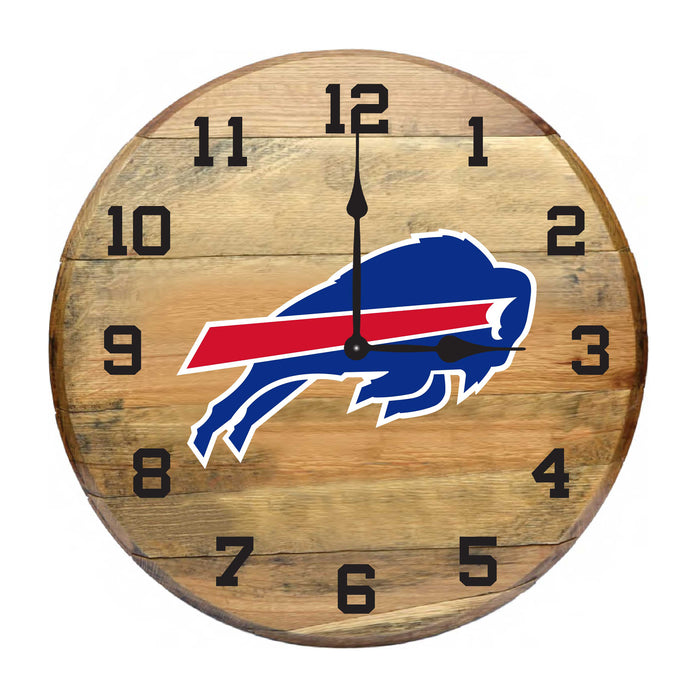BUFFALO BILLS OAK BARREL CLOCK