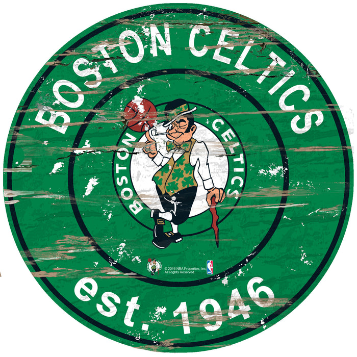 "Fan Cave Rugs:Boston Celtics Established Date 24"" Round Sign"
