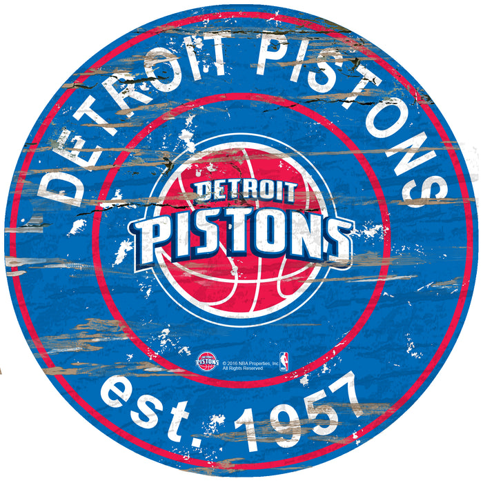 "Detroit Pistons Established Date 24"" Round Sign"