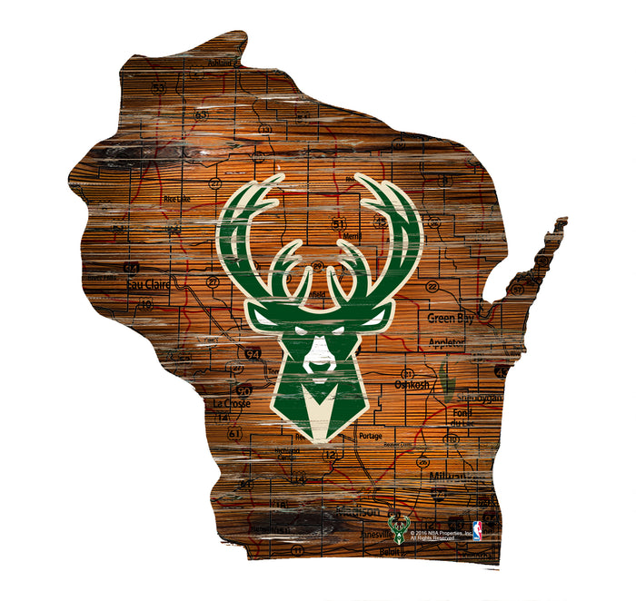 "Milwaukee Bucks Distressed State with Logo 24"" Wall Art"