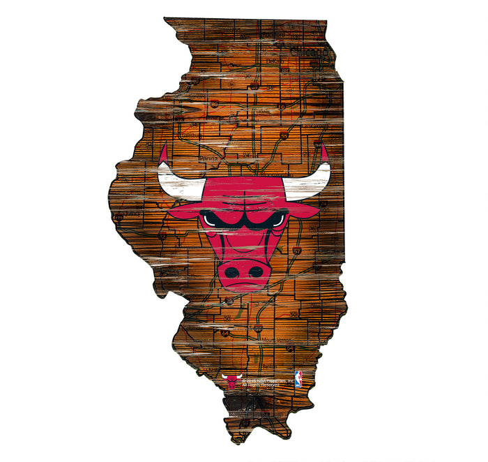 "Fan Cave Rugs:Chicago Bulls Distressed State with Logo 24"" Wall Art"