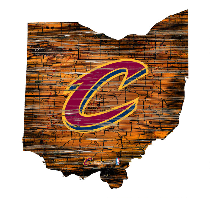 "Fan Cave Rugs:Cleveland Cavaliers Distressed State with Logo 24"" Wall Art"