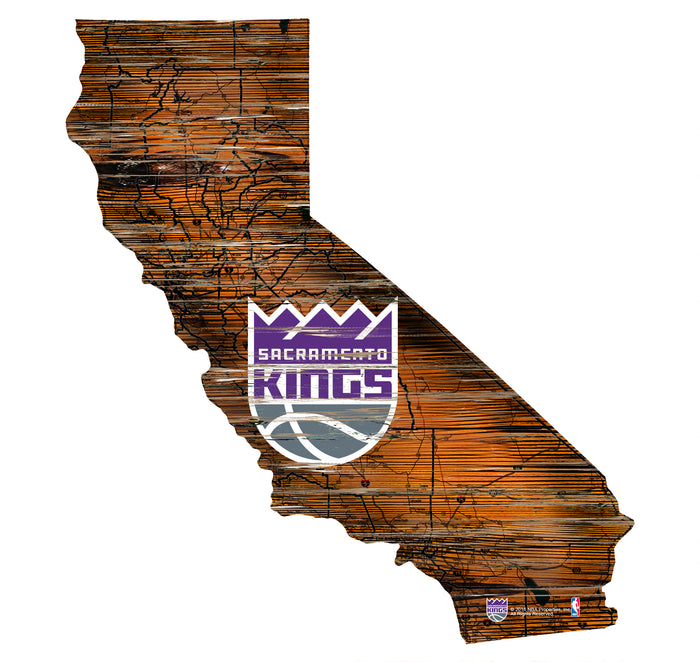 "Sacramento Kings Distressed State with Logo 24"" Wall Art"