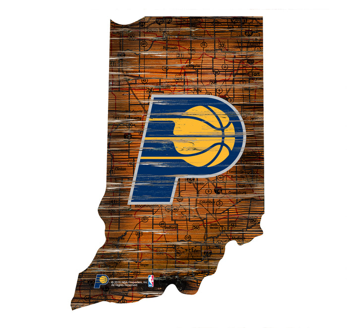 "Indiana Pacers Distressed State with Logo 24"" Wall Art"