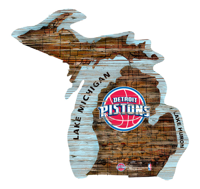 "Detroit Pistons Distressed State with Logo 24"" Wall Art"