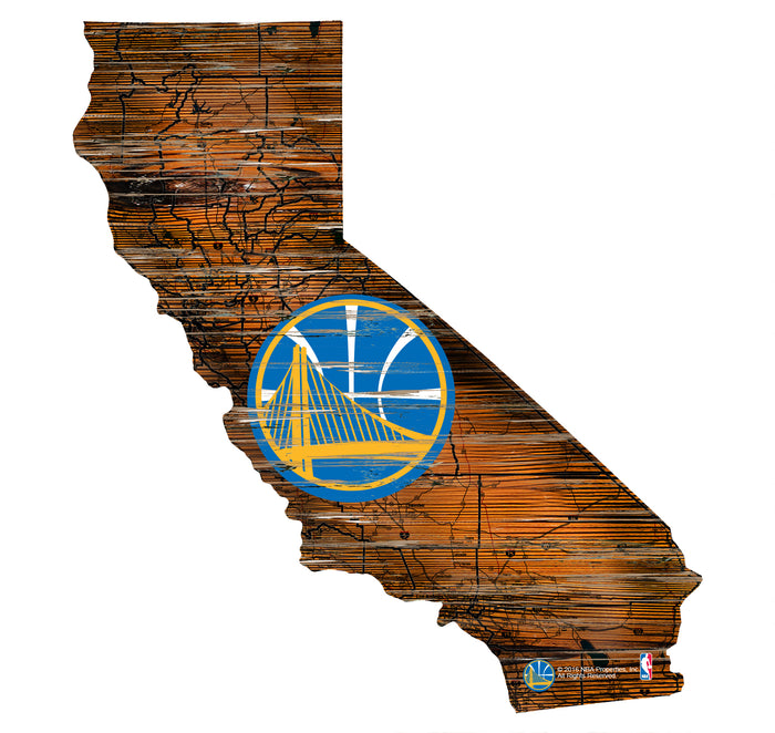 "Golden State Warriors Distressed State with Logo 24"" Wall Art"