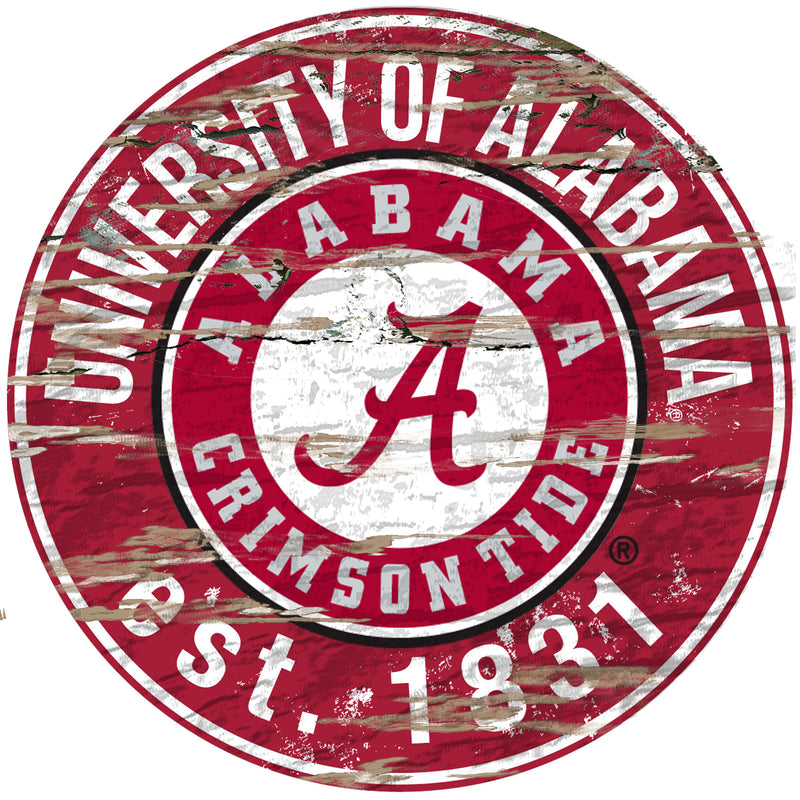 "Alabama Distressed 24"" Round Sign - Fan Cave Rugs"