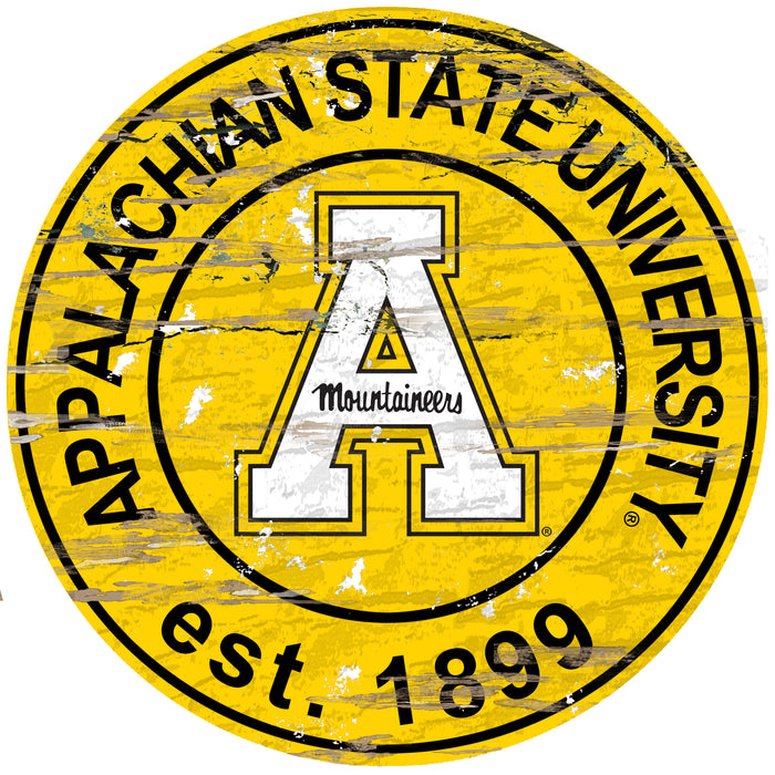 "Appalachian State Distressed 24"" Round Sign - Fan Cave Rugs"