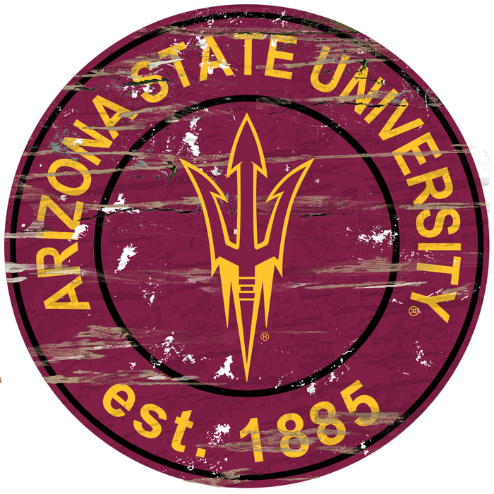 "Arizona State Distressed 24"" Round Sign - Fan Cave Rugs"