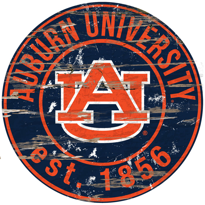 "Fan Cave Rugs:Auburn Distressed 24"" Round Sign"