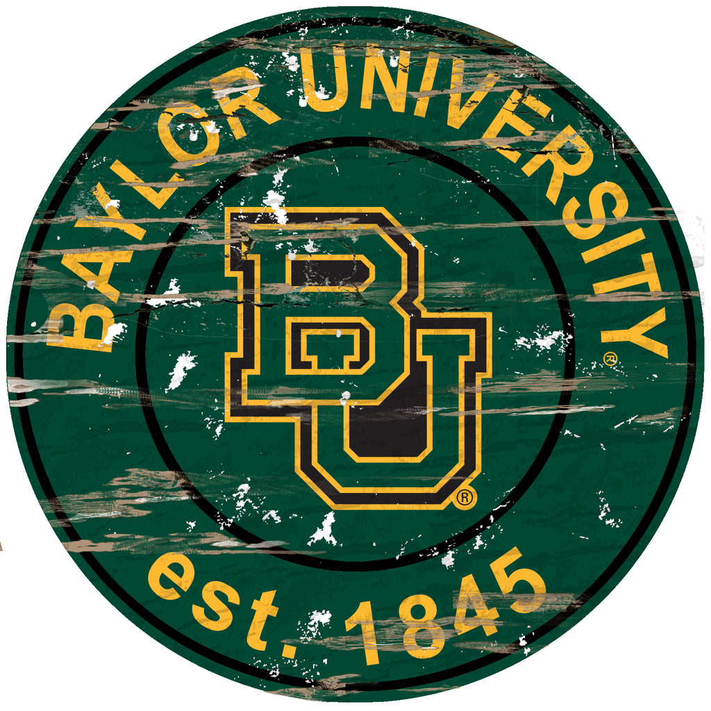 "Baylor Distressed 24"" Round Sign"