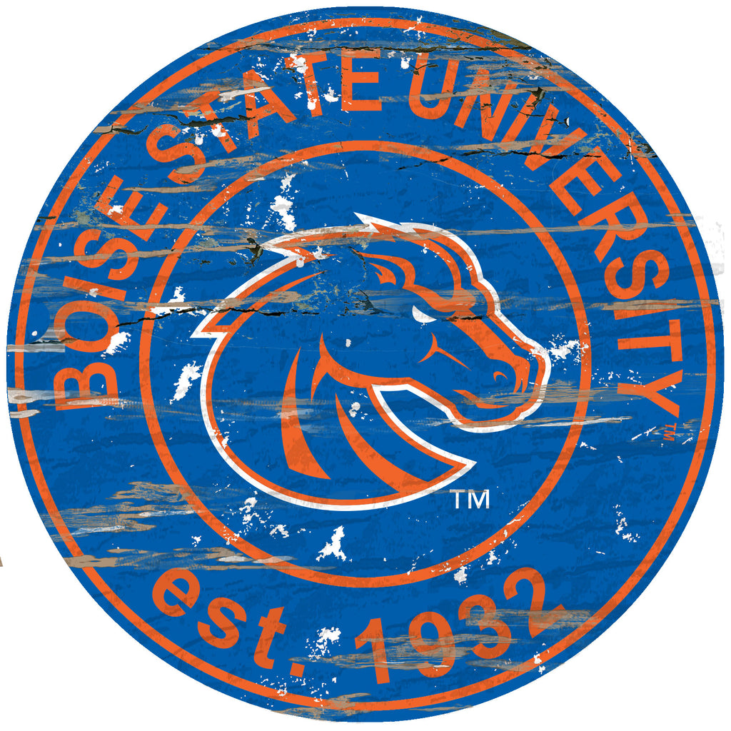 "Boise State Distressed 24"" Round Sign"