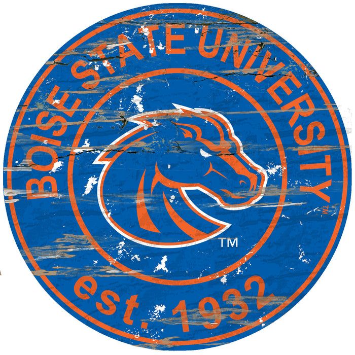 "Fan Cave Rugs:Boise State Distressed 24"" Round Sign"