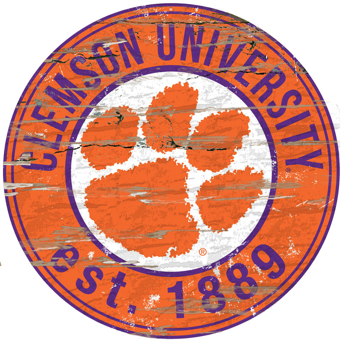 "Fan Cave Rugs:Clemson Distressed 24"" Round Sign"
