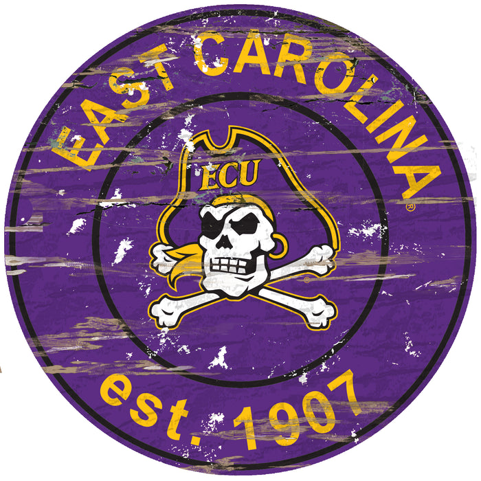 "East Carolina Distressed 24"" Round Sign"