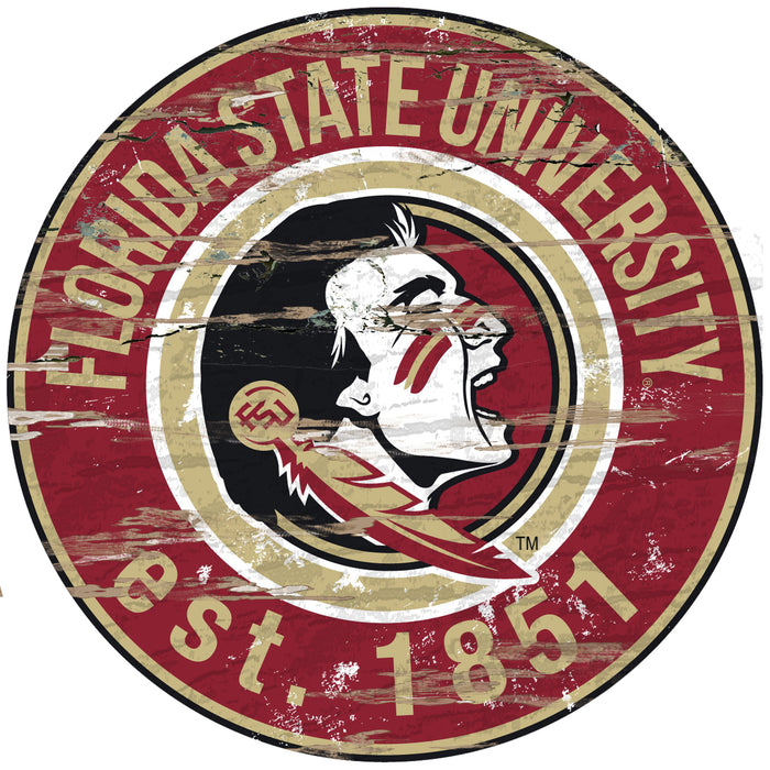 "Florida State Distressed 24"" Round Sign"