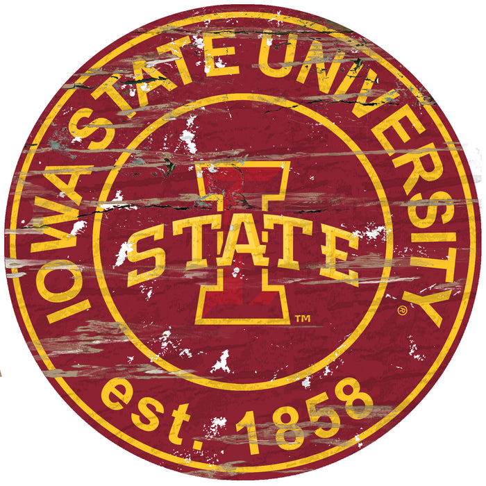 "Iowa State Distressed 24"" Round Sign"