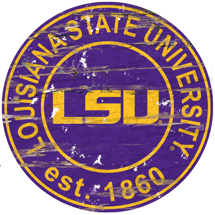 "LSU Distressed 24"" Round Sign"